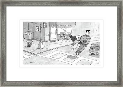 Superman Escorts An Elderly Woman Across The Road Framed Print