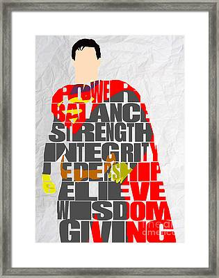 Superman Inspirational Power And Strength Through Words Framed Print