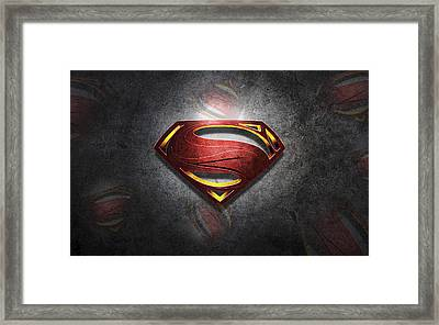 Superman Man Of Steel Digital Artwork Framed Print