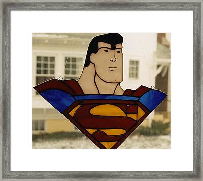 Superman Panel Framed Print by Karin Thue