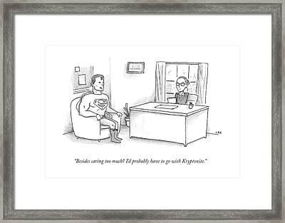 Superman Sits At A Job Interview Framed Print by Jason Adam Katzenstein
