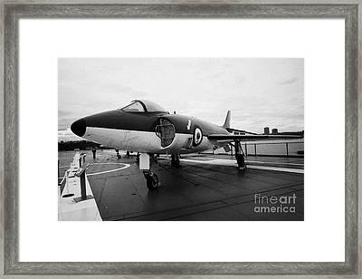 Supermarine F 1 F1 Scimitar On Display On The Flight Deck At The Intrepid Sea Air Space Museum  Framed Print