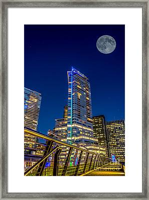 Supermoon Over Downtown Vancouver - By Sabine Edrissi Framed Print