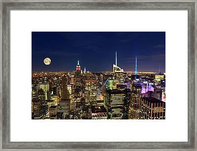 Supermoon Over Manhattan Framed Print by Lee Dos Santos