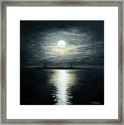 Supermoon Rising Over Thacher Island Framed Print by Eileen Patten Oliver
