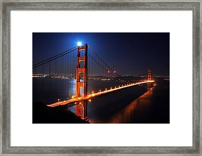 Supermoon Shining On Top Of The Golden Gate Bridge Framed Print