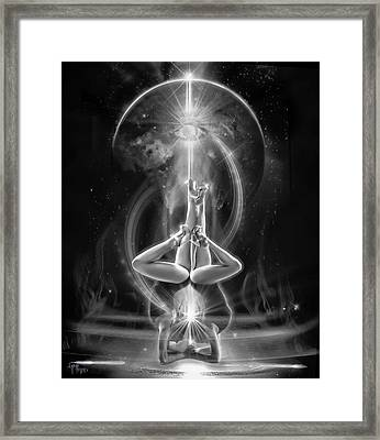 Supernova Twins With Moon Bw Framed Print