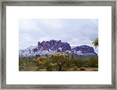 Superstition Mountain Snow Framed Print