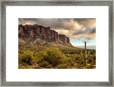 Superstition Mountains  Framed Print by Saija  Lehtonen
