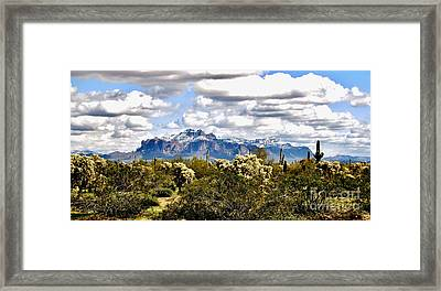 Superstitions With Snow Panorama Framed Print by Marilyn Smith