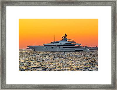 Superyacht On Yellow Sunset View Framed Print