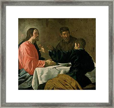 Supper At Emmaus, 1620 Oil On Canvas Framed Print