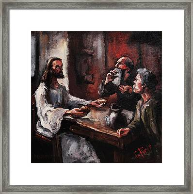 Supper At Emmaus Framed Print by Carole Foret