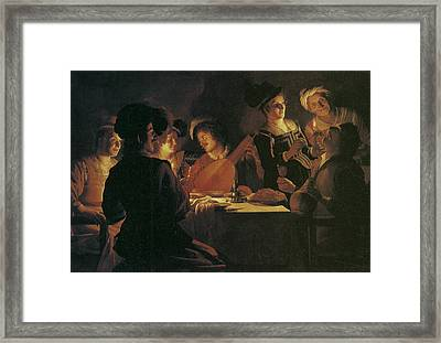Supper Party With Lute Player Framed Print by Gerrit van Honthorst