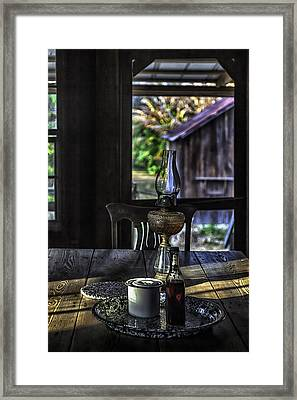 Suppertime In A 1850s Cracker Kitchen Framed Print