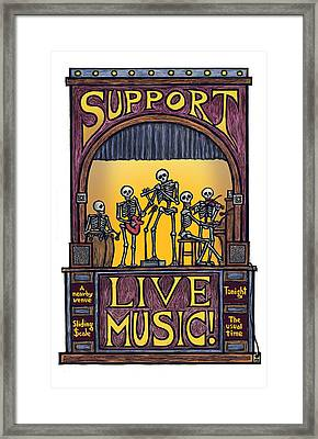 Support Live Music Framed Print by Ricardo Levins Morales