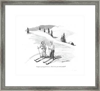 Suppose You Do Fall Down. That's How You Meet Framed Print by Helen E. Hokinson