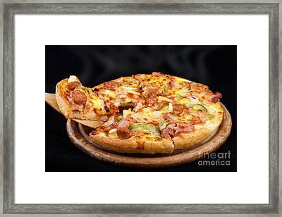 Supreme Hot Pizza  Framed Print by Anek Suwannaphoom