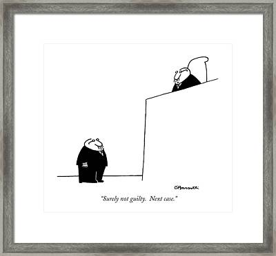 Surely Not Guilty.  Next Case Framed Print by Charles Barsotti