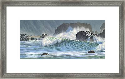 Surf And Rocks-harris Beach Framed Print by Paul Krapf