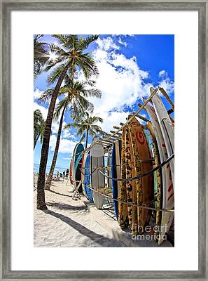 Surf And Sun Waikiki Framed Print