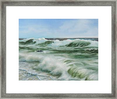 Framed Print featuring the painting Surf At Castlerock by Barry Williamson
