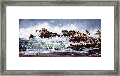 Framed Print featuring the painting Surf At Lincoln City by Craig T Burgwardt