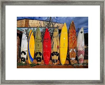 Surf Board Fence Maui Hawaii Framed Print