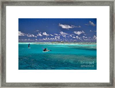 Surf Board Paddling In Moorea Framed Print by David Smith