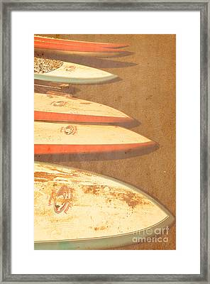 Surf Boards On Beach Framed Print by Birgit Tyrrell