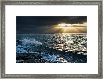 Surf Breaks At Sunrise  Wailua, Kauai Framed Print