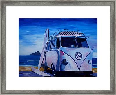 Surf Bus Series - The White Volkswagen Framed Print by M Bleichner