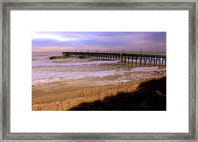 Surf City Pier Framed Print by Karen Wiles