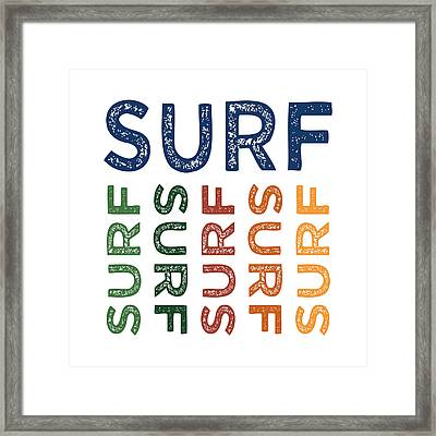 Surf Cute Colorful Framed Print