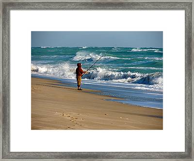 Surf Fishin' The Cold Atlantic Framed Print