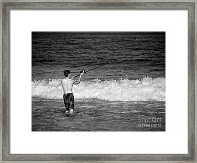 Surf Fishing Framed Print by Mark Miller