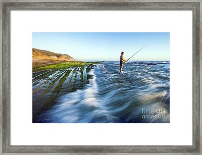 Surf Fishing, South Africa Framed Print by Peter Chadwick