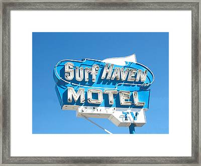 Surf Haven Motel Sign Framed Print by John Castell