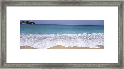 Surf On The Beach, Antigua, Antigua Framed Print