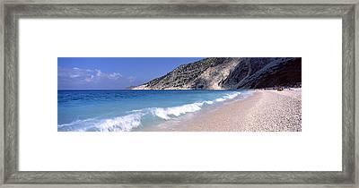 Surf On The Beach, Myrtos Beach Framed Print