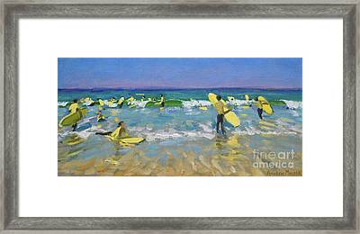 Surf School At St Ives Framed Print by Andrew Macara