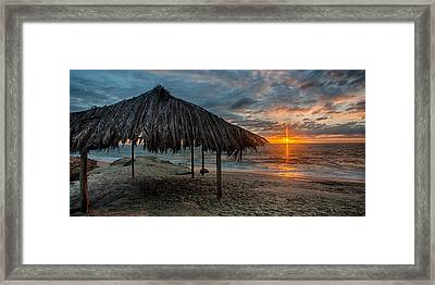 Surf Shack At Sunset - Wide Format Framed Print by Peter Tellone