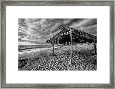 Surf Shack - Black And White Framed Print by Peter Tellone