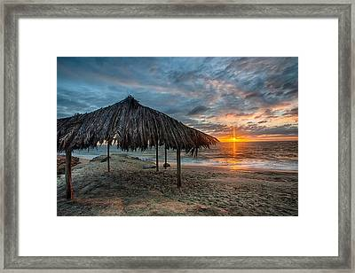 Surf Shack Sunset - Lrg Print Framed Print by Peter Tellone