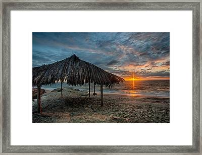Surf Shack Sunset Framed Print by Peter Tellone