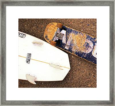 Surf Skate Fins And Wheels Framed Print by Ron Regalado