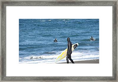Surf Waiting Framed Print by Beverly Guilliams