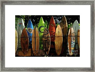 Surfboard Fence 4 Framed Print