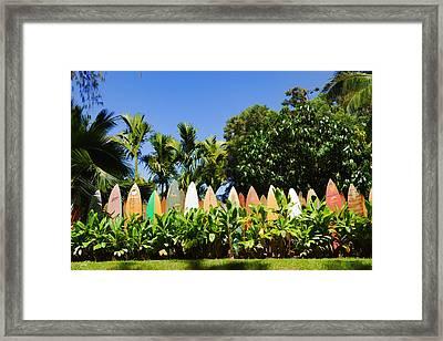 Surfboard Fence - Left Side Framed Print by Paulette B Wright