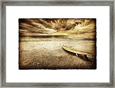 Surfboard On The Beach 2 Framed Print by Skip Nall